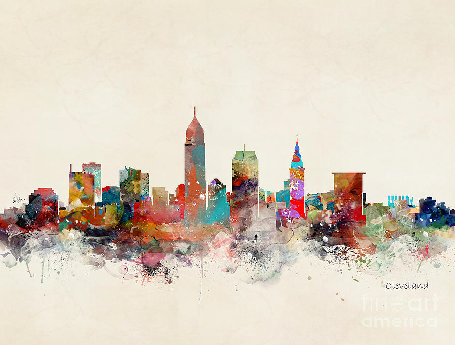 Cleveland Painting - Cleveland Ohio Skyline by Bri Buckley