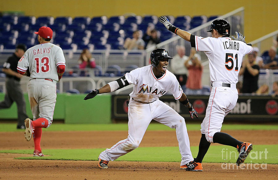 Dee Gordon and Ichiro Suzuki Photograph by Mike Ehrmann