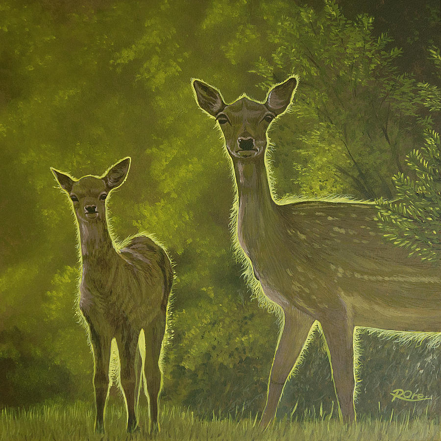 Deer Painting - 2 Deer at Sunset by Raymond Ore