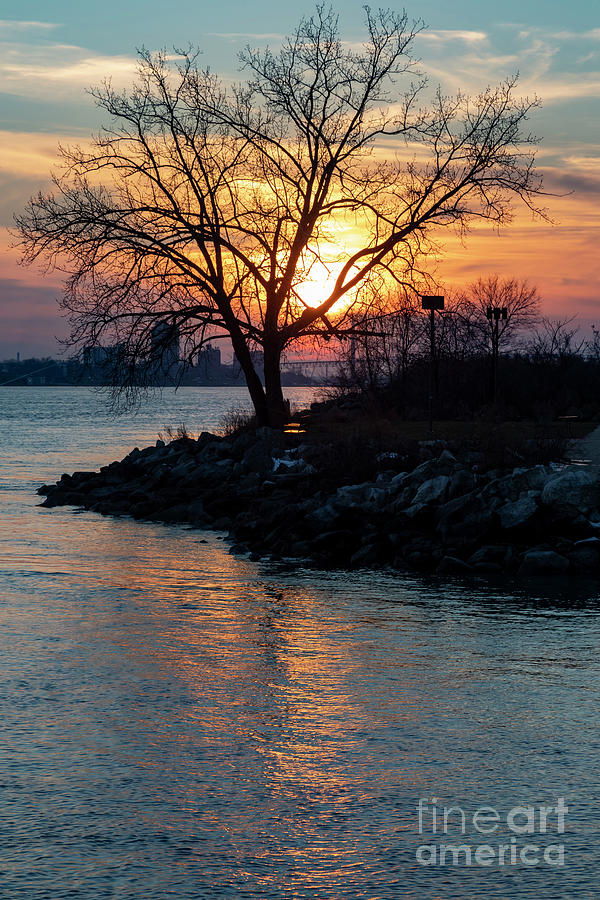 Detroit River Sunset Photograph