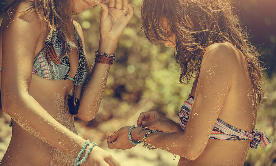 Girlfriends on the beach Photograph by VladGans