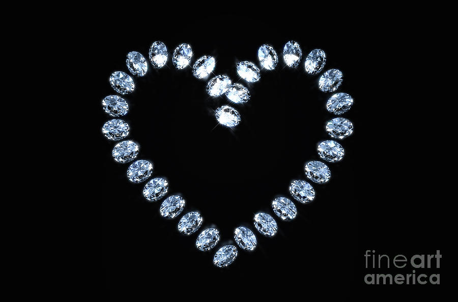 Heart Array Of Diamonds Digital Art