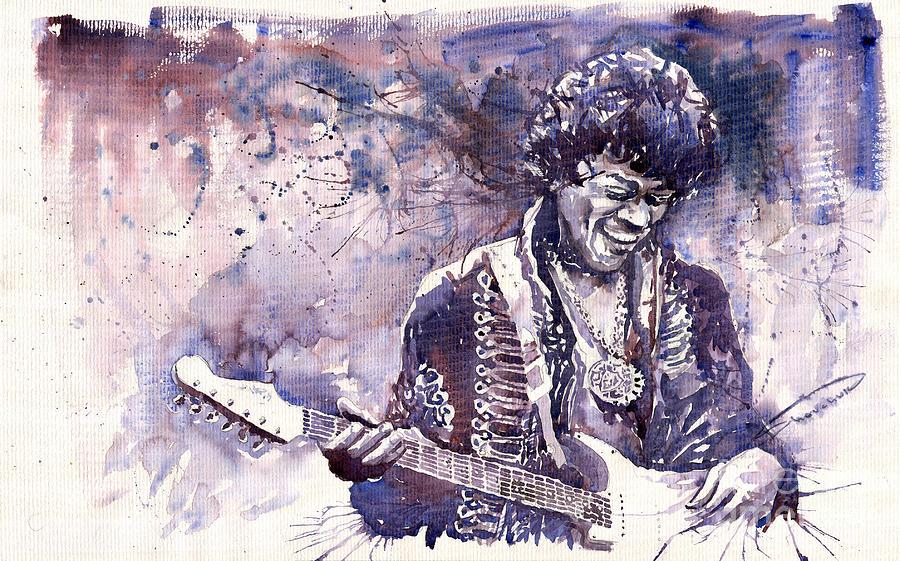 Watercolour Painting - Jazz Rock Jimi Hendrix 03 by Yuriy Shevchuk
