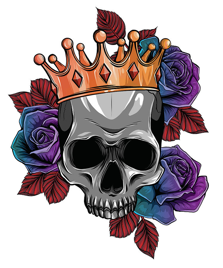 King Of Death Portrait Of A Skull With A Crown And Lipstick Digital Art By Dean Zangirolami