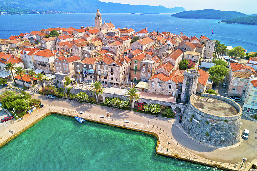Korcula Photograph - Korcula. Historic Town Of Korcula Aerial Panoramic View 2 by Brch Photography