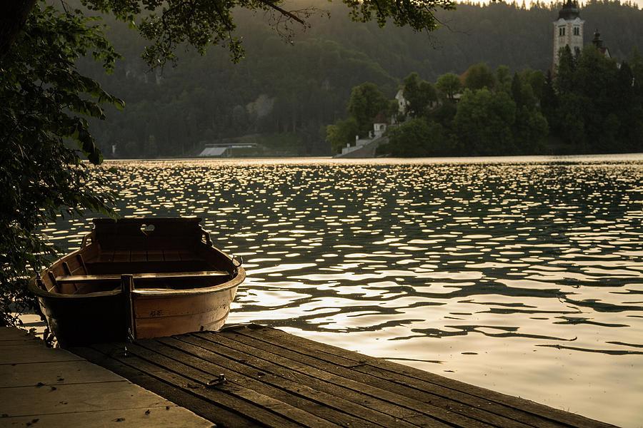 Lake Bled at sunset by Ian Middleton