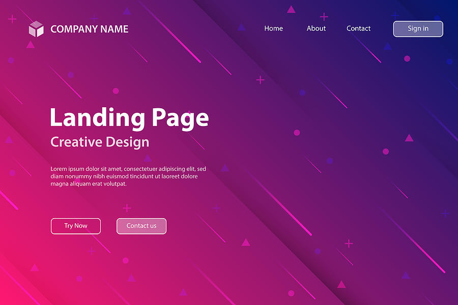 Landing page Template - Abstract design with geometric shapes - Trendy Pink Gradient Drawing by Bgblue