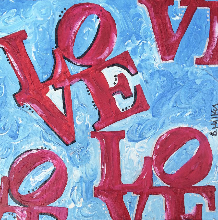 Love Painting - Blue Red Love by Britt Miller