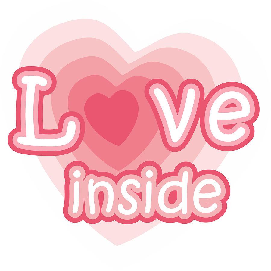 Heart Digital Art - Love inside - cute pink heart symbol with hearts inside by Elena Sysoeva