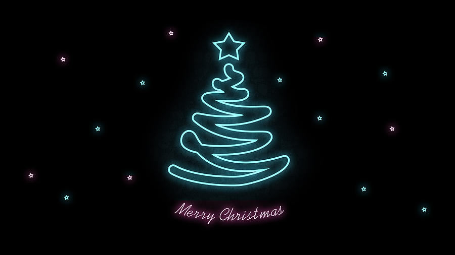 2 merry christmas blue pink tree on black background abstract neon wallpaper elena sysoeva