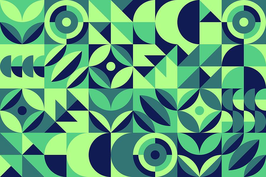 Modern Shape Geometric Seamless Pattern Drawing