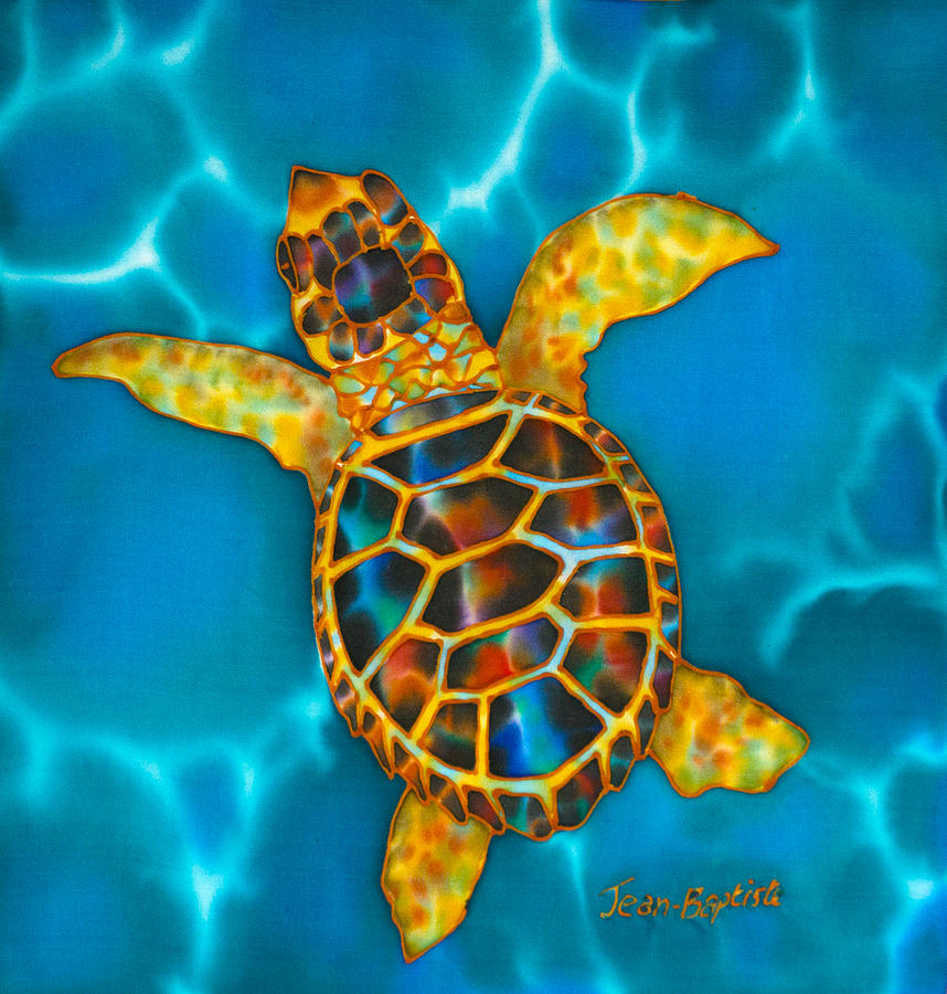 Abstract Painting - Opal Sea Turtle by Daniel Jean-Baptiste