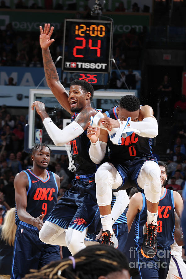 Paul George and Russell Westbrook Photograph by Zach Beeker
