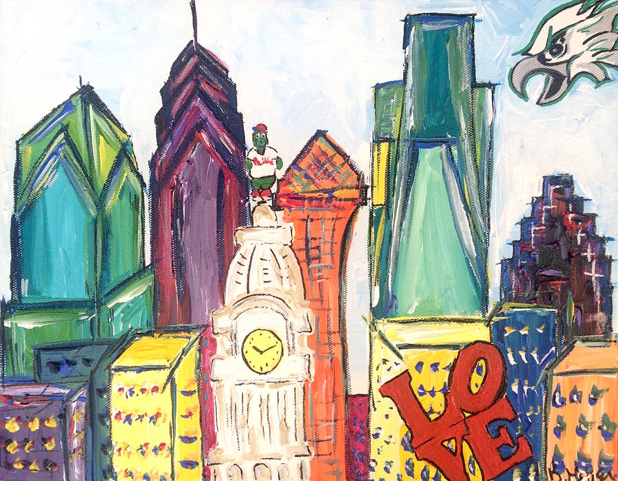 Philly Painting - Philadelphia Skyline with Eagles by Britt Miller