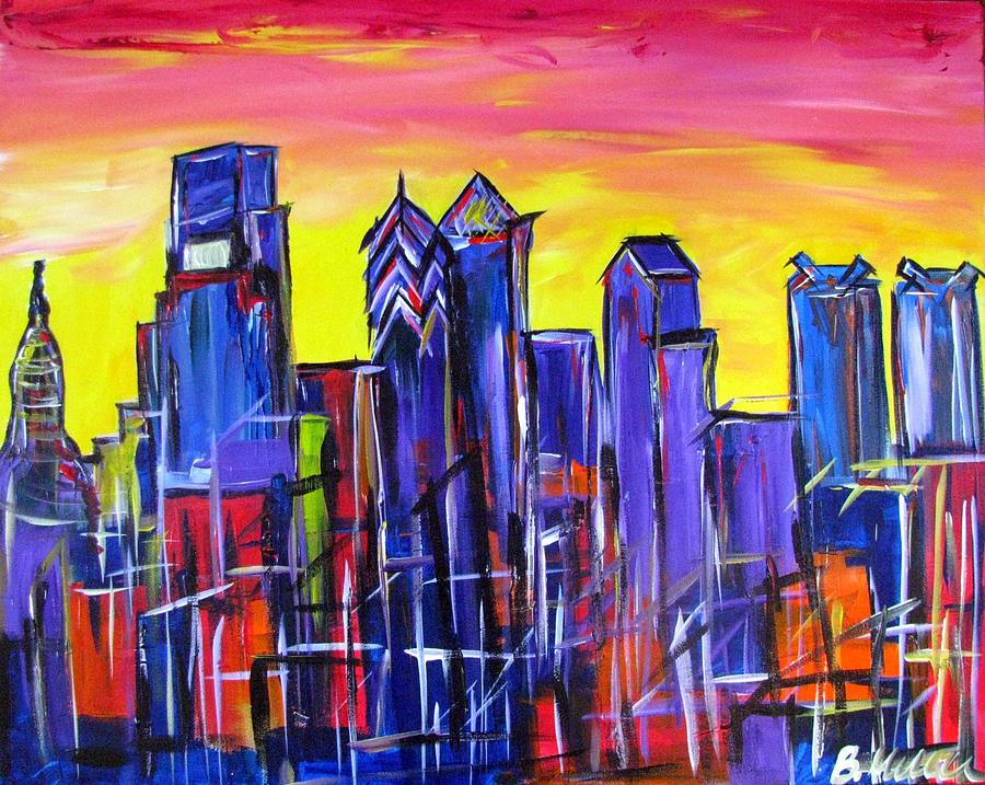 Philly Painting - Philly Skyline Sunset by Britt Miller