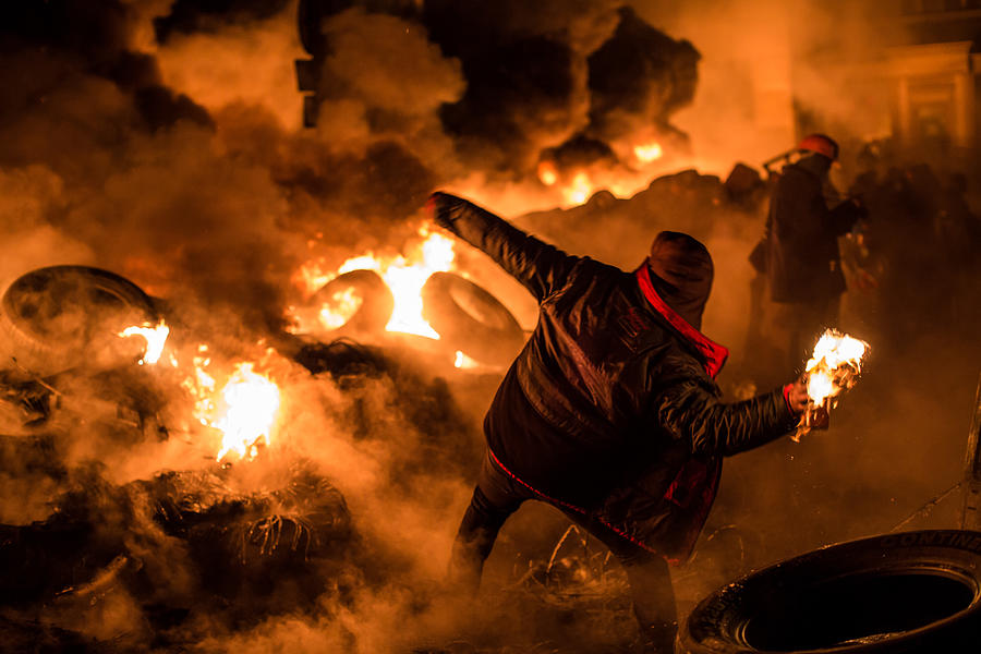 Protests Continue In Kiev As The Opposition Calls For A Snap Election Photograph by Brendan Hoffman