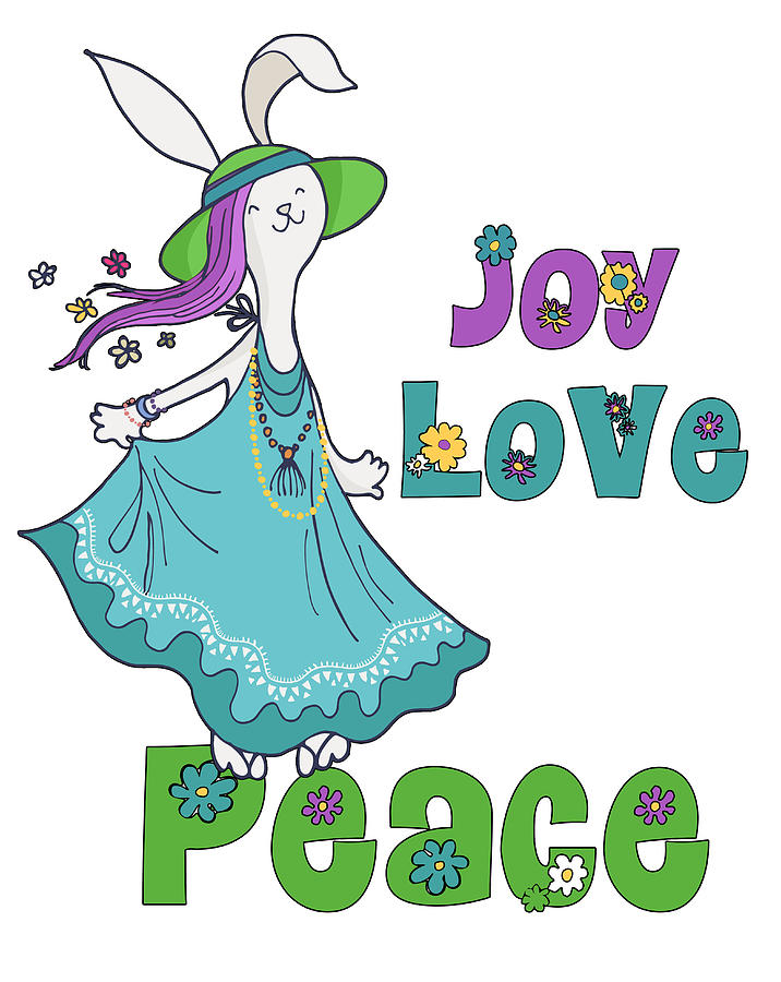 Retro Hippie Joy Love And Peace Dancing Holiday Bunny Digital Art