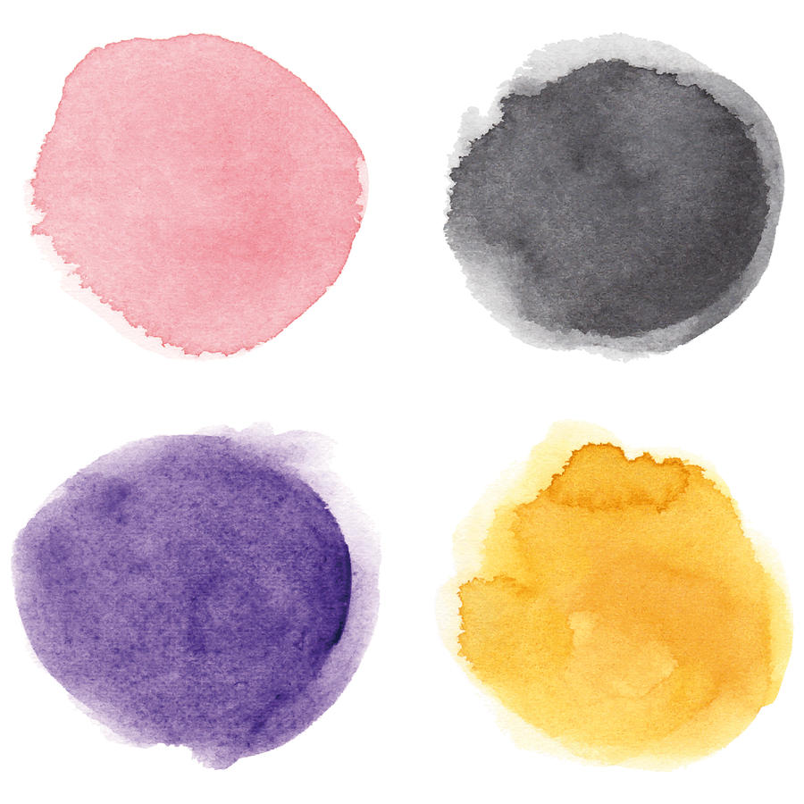 Round multicolored watercolor spots Drawing by Ollustrator