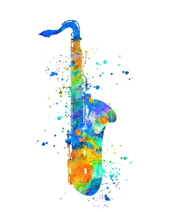 Saxophone Painting - Saxophone Art by Zuzi s
