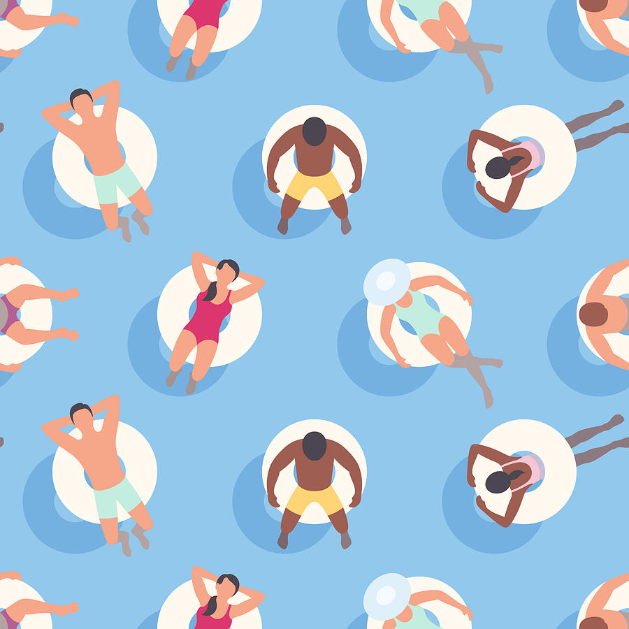 Seamless Summer Background with People relaxing on Inflatable Rings Drawing by Jamielawton