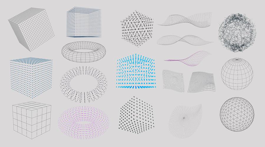 Set of 3D Elements Drawing by AF-studio