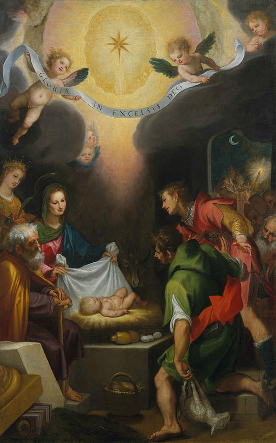 Italian Painters Painting - The Adoration Of The Shepherds With Saint Catherine Of Alexandria by Cigoli