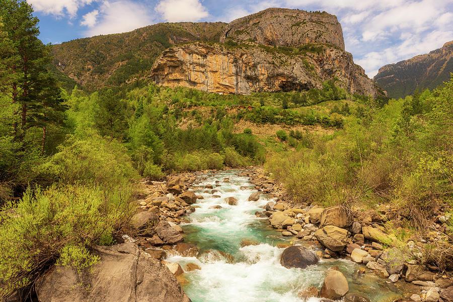 The Ara River Between Torla And Broto, Ordesa Photograph