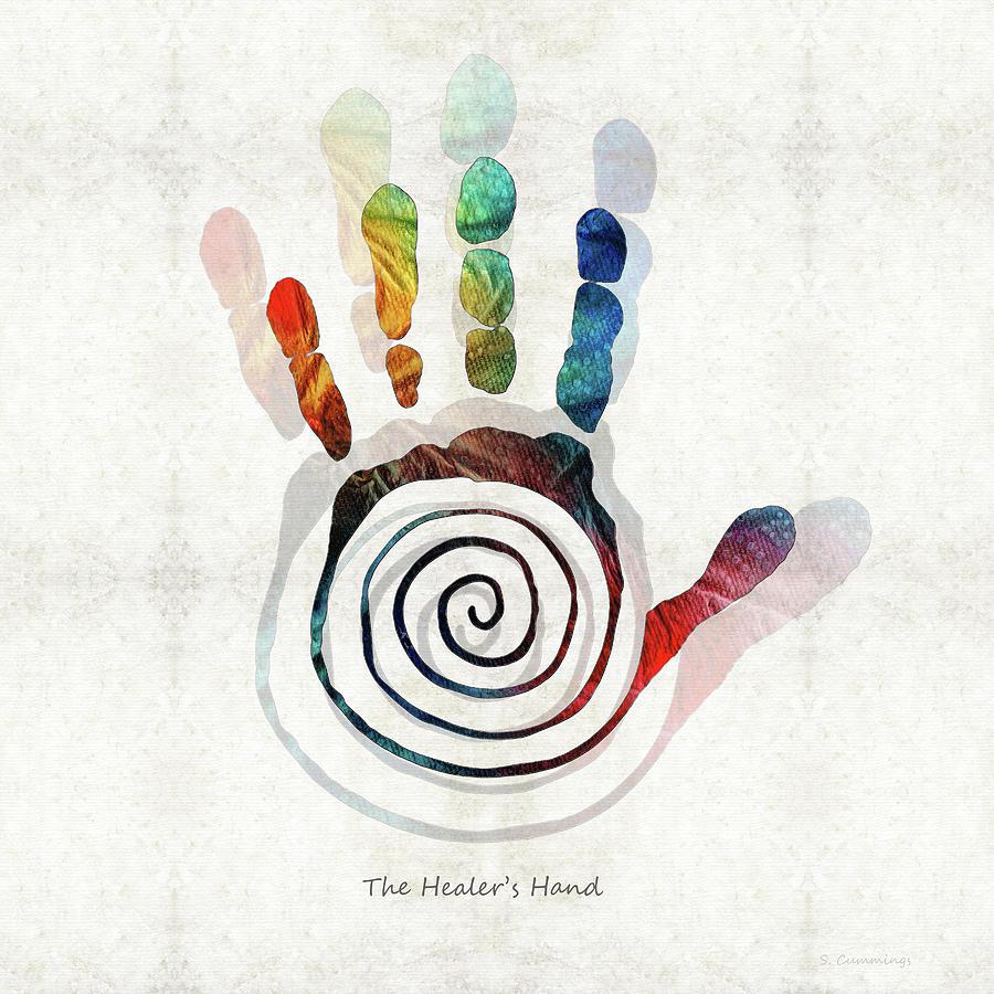 Hand Painting - The Healers Hand Symbol - Native American Art - Sharon Cummings by Sharon Cummings