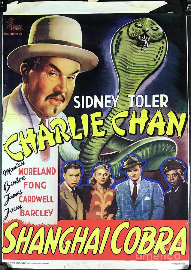 Charlie Chan Digital Art - The Shanghai Cobra Original Vintage Charlie Chan Belgian Movie Poster by Cu Hung