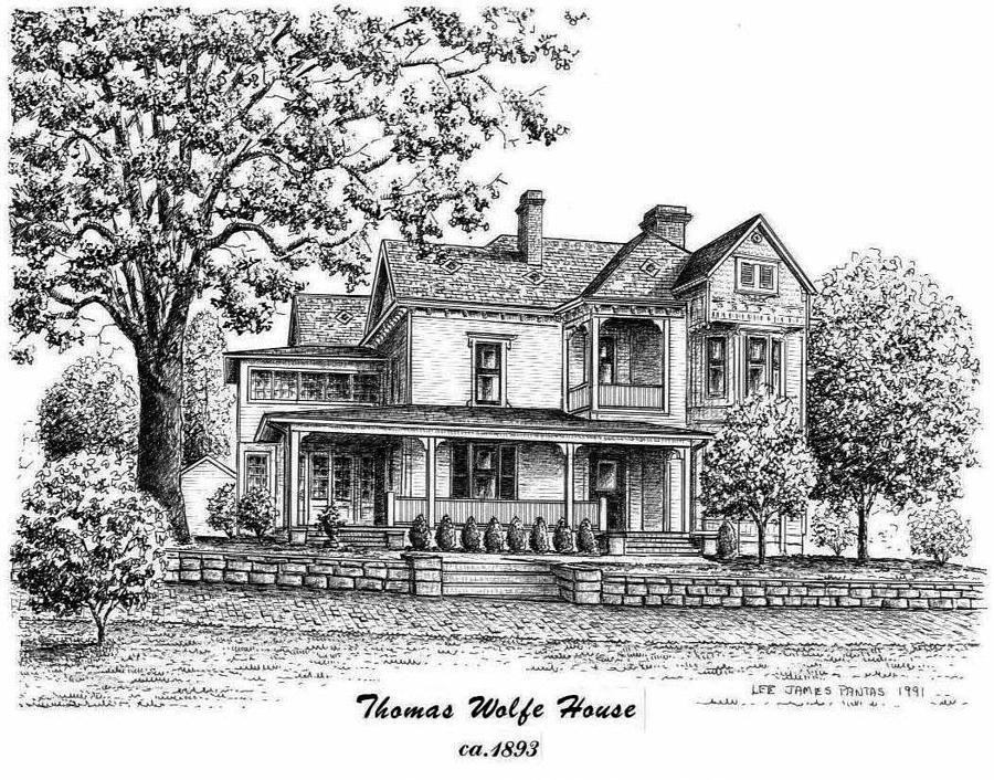 Thomas Wolfe House Drawing - Thomas Wolfe House by Lee Pantas