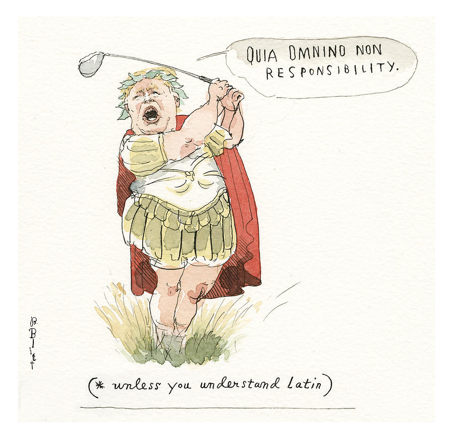 Trumps Mandated Additions to the Classical Canon Painting by Barry Blitt