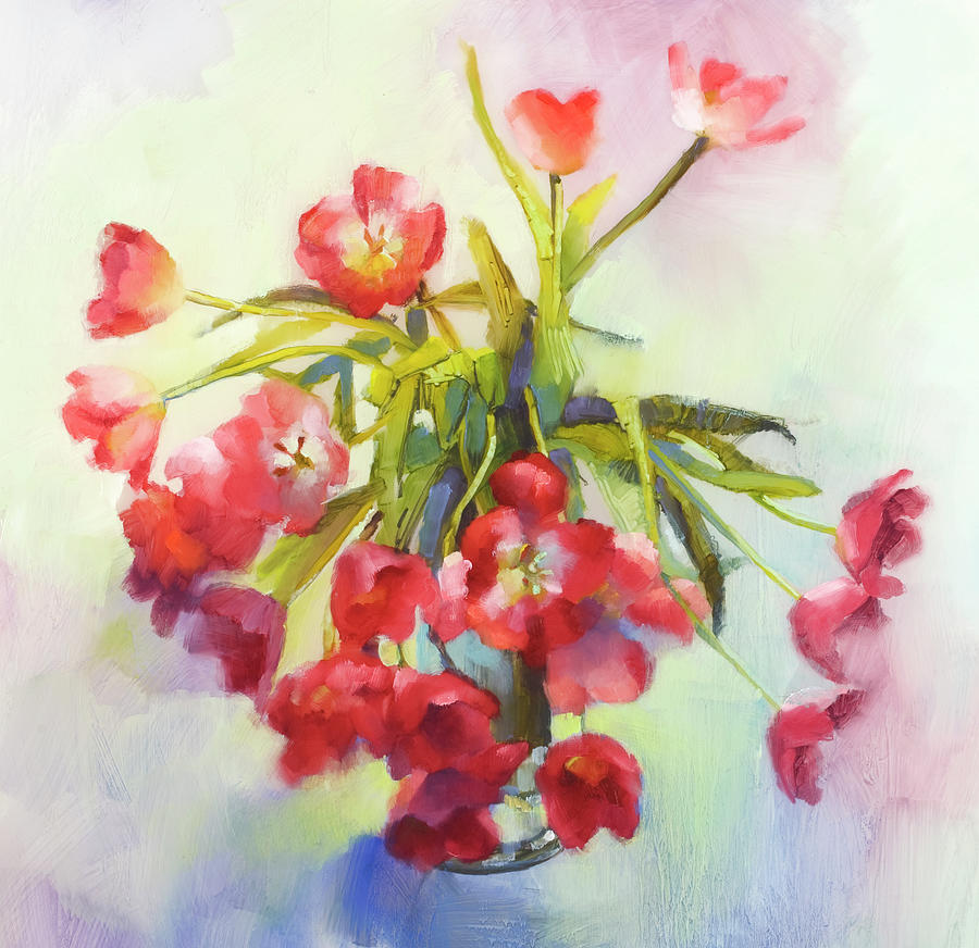 Tulip Fling Painting by Cathy Locke
