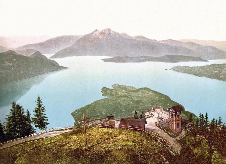 View Of Lake Lucerne And Pilatus From Rigi Kanzell, Schwyz, Switzerland 1890. Photograph