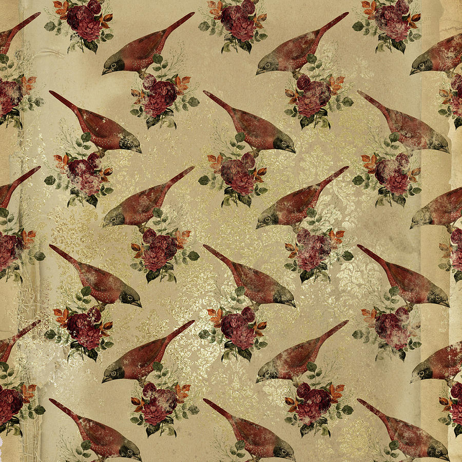 Animals Digital Art - Vintage Floral Birds Pattern Antique by Sweet Birdie Studio