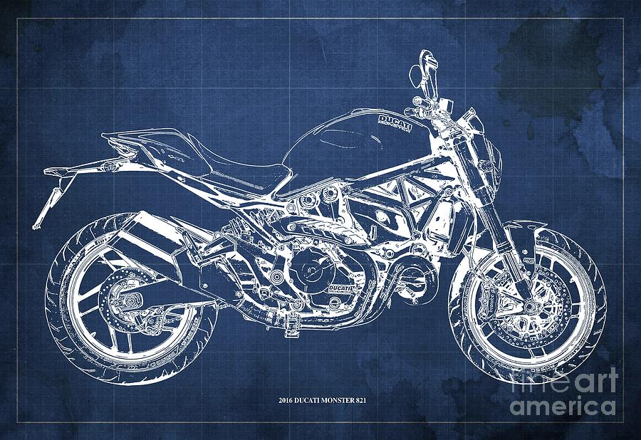 2016 Ducati Monster 821 Blueprint. Blue Background Drawing