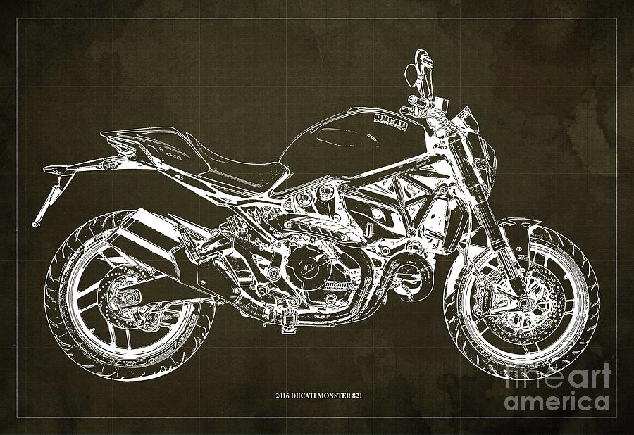 2016 Ducati Monster 821 Blueprint. Brown Background Drawing