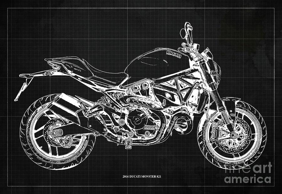 2016 Ducati Monster 821 Blueprint. Dark Grey Background Drawing