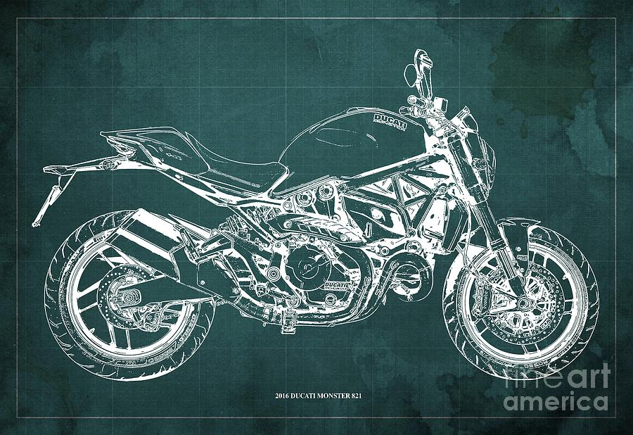 2016 Ducati Monster 821 Blueprint. Green Background Drawing
