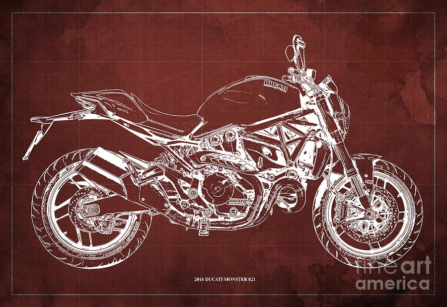 2016 Ducati Monster 821 Blueprint. Red Background Drawing