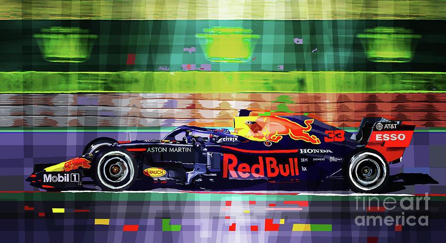 2019 Mixed Media - 2019 F1  Aston Martin Red Bull Racing Rb15 Max Verstappen. by Yuriy Shevchuk