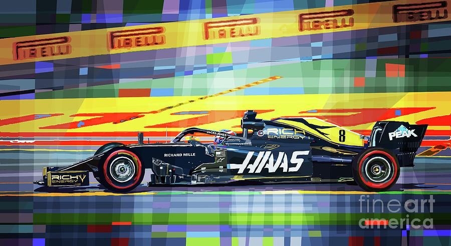 Automotive Mixed Media - 2019 Rich Energy Haas F1 Team Vf-19 Romain Grosjean by Yuriy Shevchuk