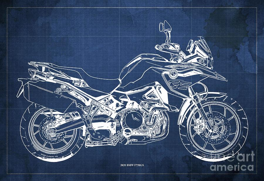 2020 Bmw F750gs Blueprint,blue Background,home Office Decoration Drawing