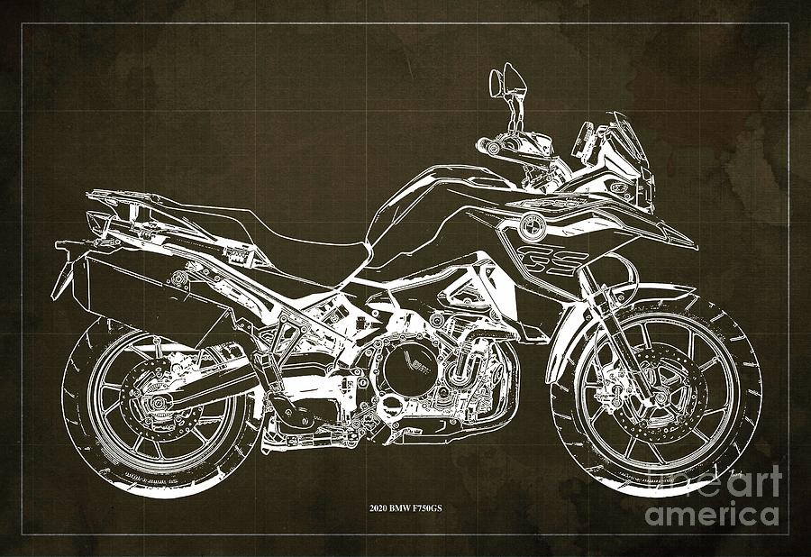 2020 Bmw F750gs Blueprint,brown Background,home Office Decoration Drawing