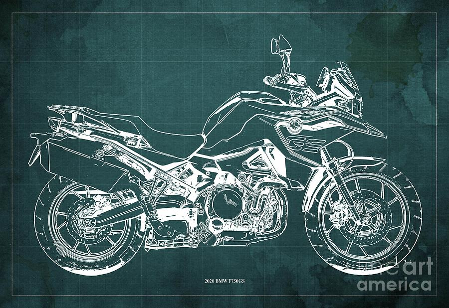 2020 Bmw F750gs Blueprint,green Background,home Office Decoration Drawing
