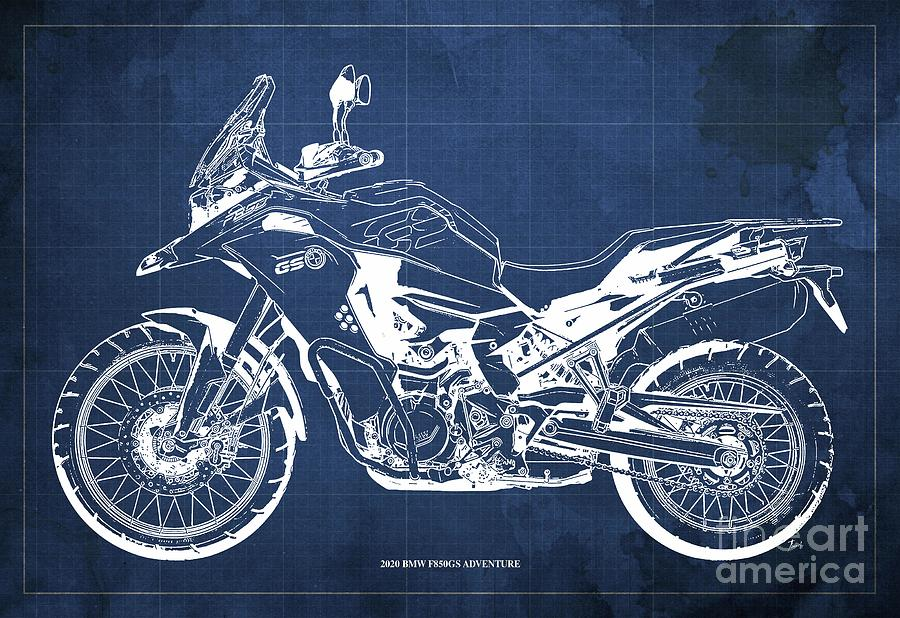 2020 Bmw F850gs Adventure Blueprint,blue Background,home Office Decoration Drawing