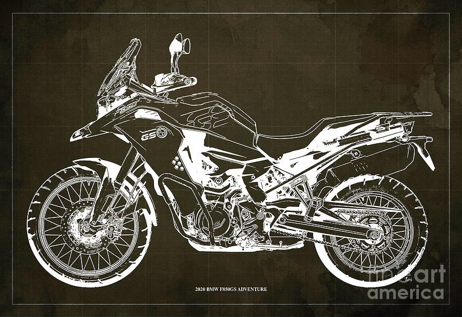 2020 Bmw F850gs Adventure Blueprint,brown Background,home Office Decoration Drawing