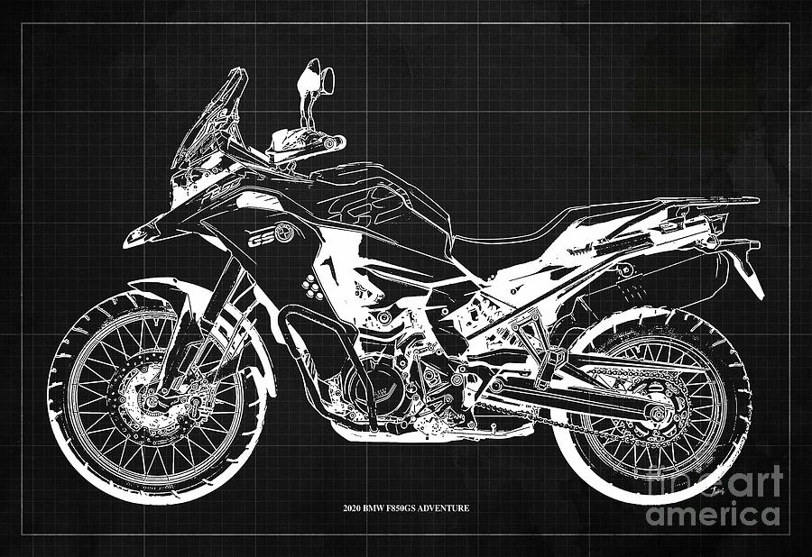 2020 Bmw F850gs Adventure Blueprint,dark Grey Background,home Office Decoration Drawing