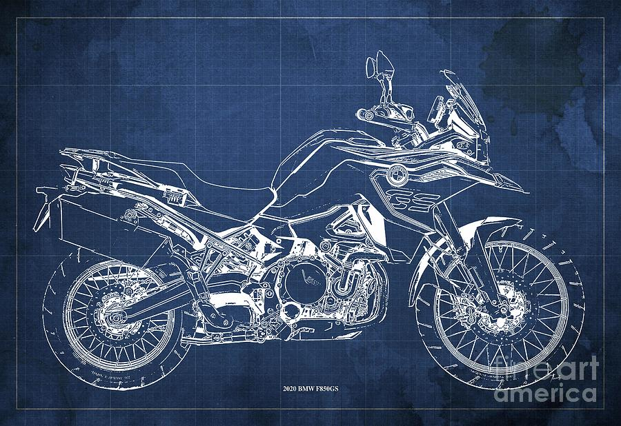 2020 Bmw F850gs Blueprint,blue Vintage Background,gift Ideas For Bikers Drawing