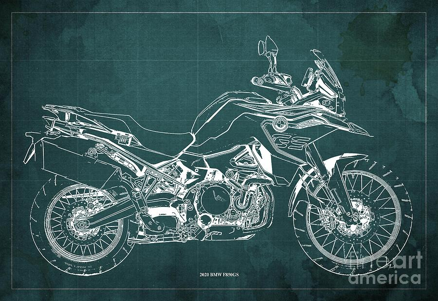 2020 Bmw F850gs Blueprint,green Vintage Background,gift Ideas For Bikers Drawing