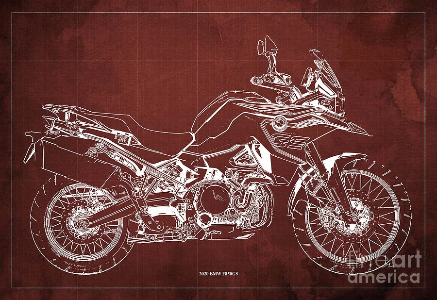 2020 Bmw F850gs Blueprint,red Vintage Background,gift Ideas For Bikers Drawing